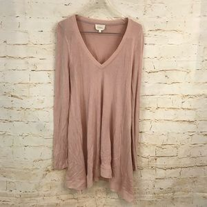 Anthro Deletta M blush pink long sleeve tunic euc